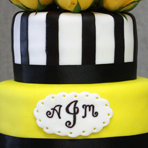 Yellow & Black Damask Wedding Cake