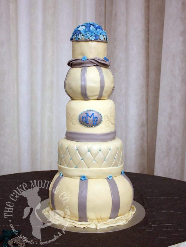 Elegant Teal & Ivory Tower Wedding Cake