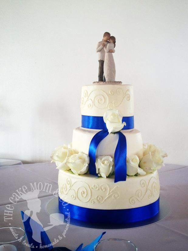 Royal Blue & Cream Wedding Cake