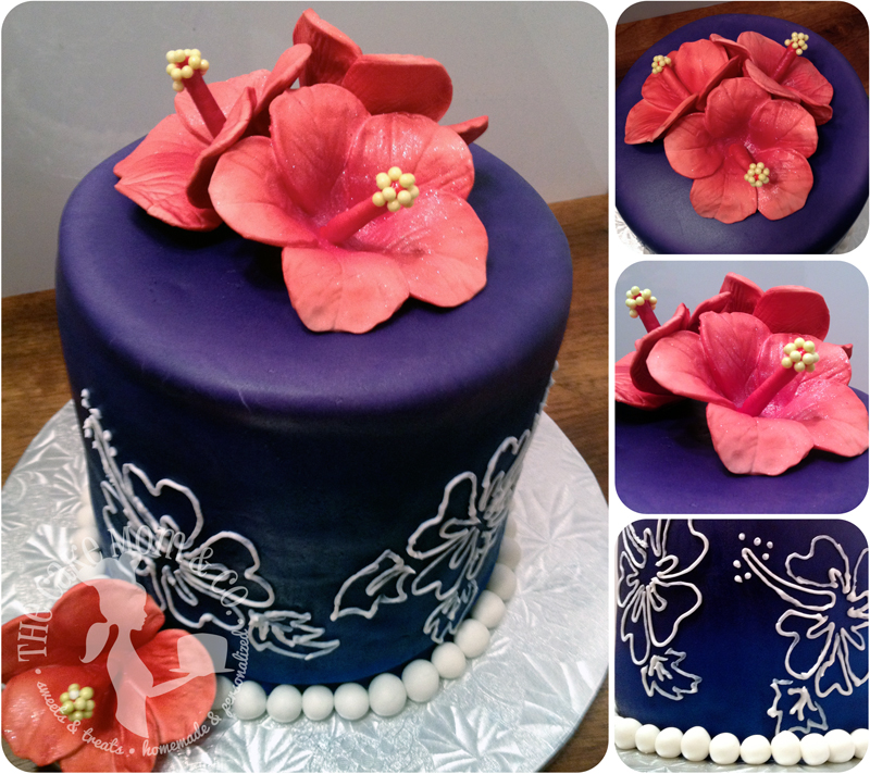 A tropical anniversary celebration cake, reminiscent of the couple's Hawaiian honeymoon