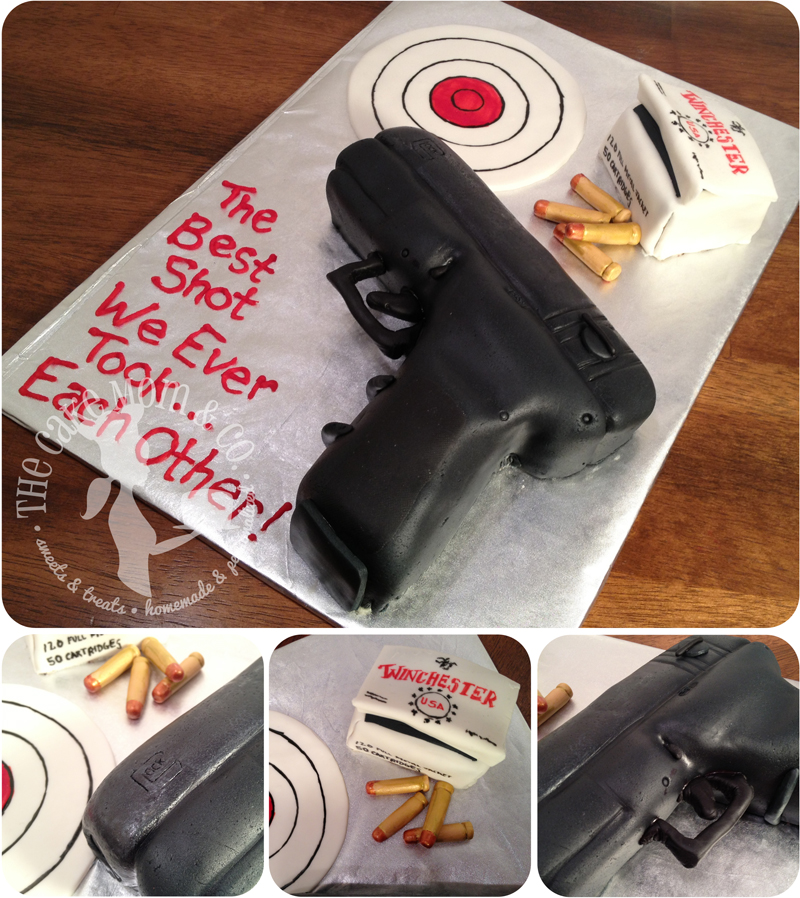 Glock pistol anniversary cake with fondant details