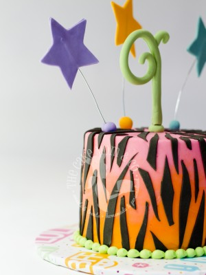Ombre Zebra Birthday Cake by The Cake Mom & Co.