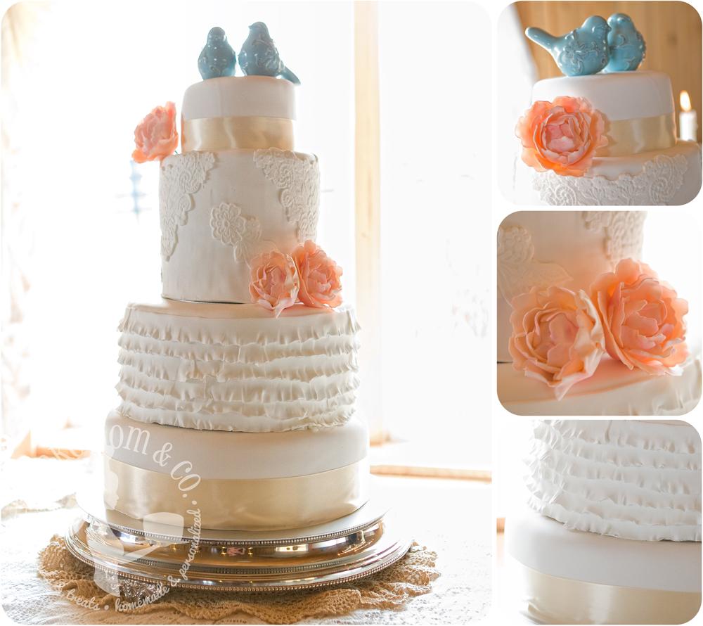 Vintage Lace & Ruffles Wedding Cake