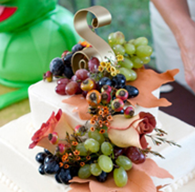 Wedding Cake with Sugar Grapes and Sugar Leaves