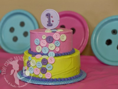Cute as a Button Birthday Cake by The Cake Mom & Co.