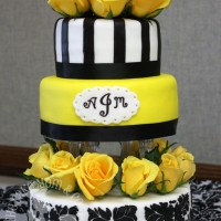 Black & Yellow Damask Wedding Cake by The Cake Mom & Co.