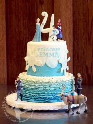 Ruffled Frozen Birthday Cake by The Cake Mom & Co.