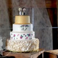 Gilded Rosettes Wedding Cake by The Cake Mom & Co.