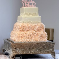 Rosettes & Pearls Square Wedding Cake by The Cake Mom & Co.