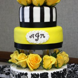 Black & Yellow Damask Wedding Cake